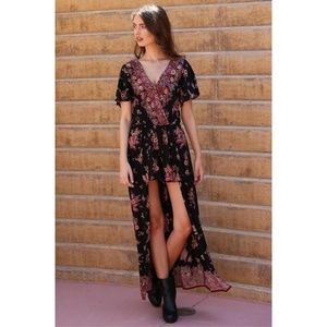 💮 Angie Boho Floral Romper Maxi Dress